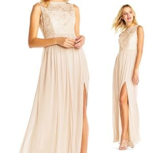 Adrianna Papell sleeveless sequin lace gown